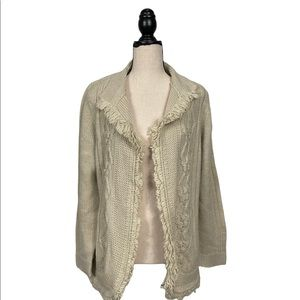 Chico's Wool Blend Looped Fringe Open Front Cardigan Size Large(2)